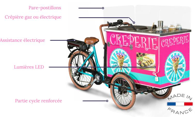 Vélo Triporteur crepe electrique avec assistance electrique tout équipé pour professionnel fabrique en france utilise en stand nomade et charette